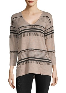August Silk Multi-Stripe V-neck Sweater