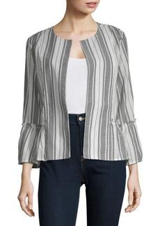August Silk Open Front Long-Sleeve Cotton Jacket