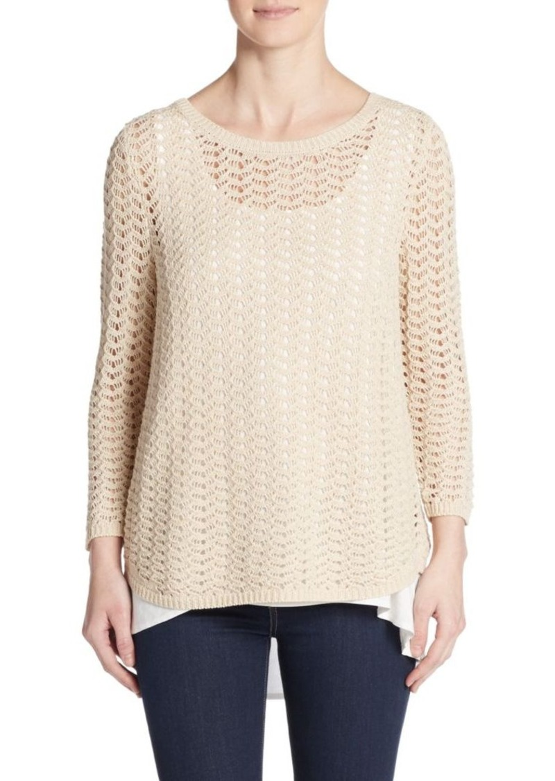 August Silk Open-Knit Layered Sweater