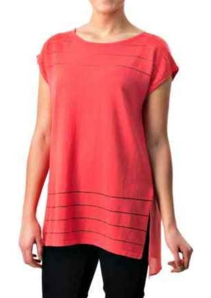 August silk august silk sheer striped shirt short sleeve for Silk short sleeve shirt