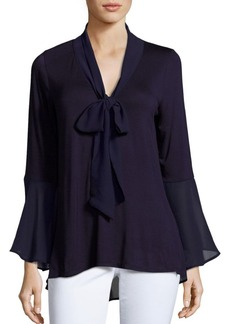 August Silk Solid Trumpet Sleeve Blouse
