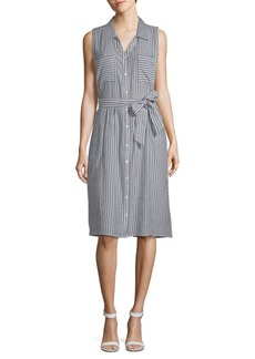 August Silk Striped Chambray Sleeveless Dress