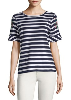 August Silk Two-Tone Striped Tee