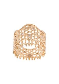 Aurelie Bidermann 18kt yellow gold & diamond lace ring