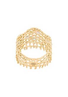 Aurelie Bidermann 18kt yellow gold diamond vintage lace ring