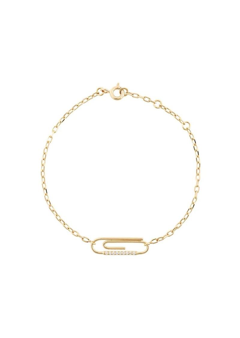 Aurelie Bidermann Paperclip 18kt gold diamond bracelet