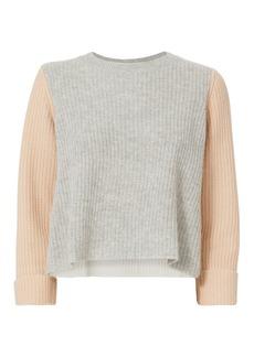 Autumn Cashmere Cuffed Colorblock Shaker Sweater