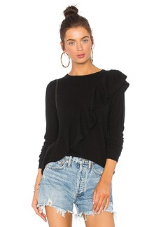 Autumn Cashmere Asymmetric Ruffle Sweater in Black. - size L (also in S,XS)