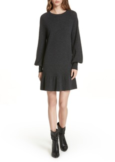 autumn cashmere Bishop Sleeve Cashmere Sweater Dress