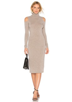 Autumn Cashmere Cold Shoulder Body Con Dress in Taupe. - size L (also in M,S,XS)