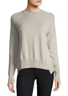 Autumn Cashmere Crewneck Long-Sleeve Boxy Pullover Sweater w/ Ruffles