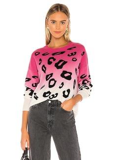 Autumn Cashmere Dip Dyed Leopard Crew Sweater