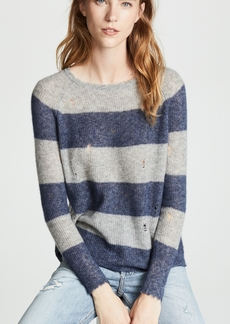 Autumn Cashmere Distressed Rugby Stripe Shaker Sweater