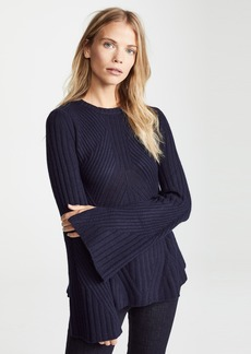 Autumn Cashmere Full Fashion Rib with Bell Sleeve