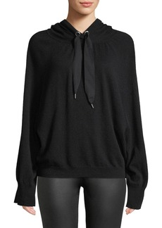 Autumn Cashmere Hooded Cashmere Pullover with Contrast Ties