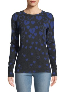 Autumn Cashmere Inked Reversible Broken-Hearts Intarsia Sweater