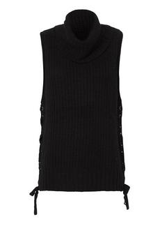 Autumn Cashmere Lace-Up Gilet: Black