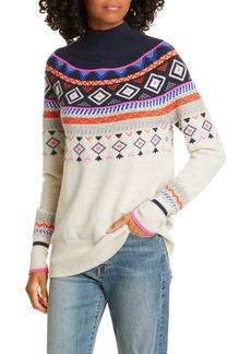 autumn cashmere Mock Neck Fair Isle Cashmere Sweater