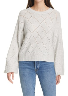 autumn cashmere Pointelle Balloon Sleeve Cashmere Sweater