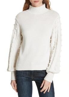 autumn cashmere Popcorn Sleeve Cashmere & Wool Blend Sweater