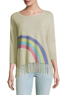 Autumn Cashmere Rainbow Fringe-Hem Cashmere Top
