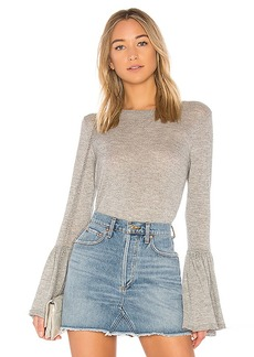 Autumn Cashmere Ruffle Cuff Sweater in Gray. - size L (also in M,S,XS)