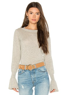 Autumn Cashmere Ruffle Sleeve Crew Sweater in Gray. - size L (also in M,S,XS)