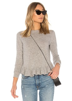 Autumn Cashmere Ruffle Sweater in Gray. - size L (also in M,S,XS)