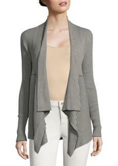 Autumn Cashmere Striped Open Front Cotton Cardigan