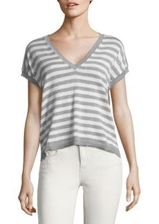 Autumn Cashmere Striped V-Neck Cotton Top