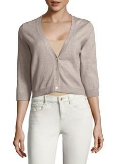 Autumn Cashmere Three-Quarter Sleeve Cotton Cardigan