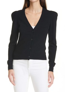 autumn cashmere V-Neck Puff Sleeve Cashmere Cardigan