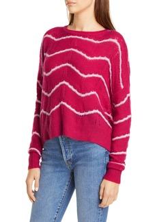 autumn cashmere Wave Stripe Pointelle Stitch Cashmere & Silk Sweater