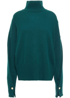 Autumn Cashmere Woman Button-detailed Cashmere Turtleneck Sweater Emerald