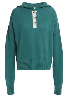Autumn Cashmere Woman Button-detailed Cotton Hooded Sweater Teal