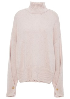 Autumn Cashmere Woman Button-detailed Donegal Cashmere Turtleneck Sweater Pastel Pink