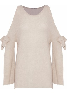 Autumn Cashmere Woman Cold-shoulder Bow-detailed Cashmere Sweater Beige