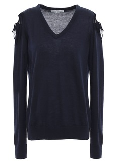 Autumn Cashmere Woman Cold-shoulder Cashmere Sweater Midnight Blue