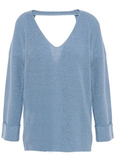 Autumn Cashmere Woman Cutout Ribbed Cotton Sweater Light Blue