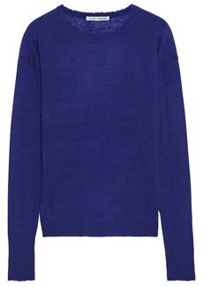 Autumn Cashmere Woman Distressed Slub Cashmere Sweater Indigo