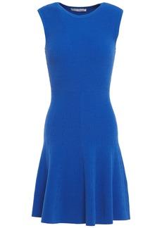 Autumn Cashmere Woman Flared Ribbed-knit Mini Dress Cobalt Blue