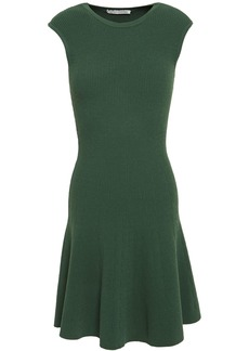Autumn Cashmere Woman Flared Ribbed-knit Mini Dress Dark Green