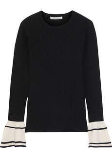 Autumn Cashmere Woman Fluted Ribbed Two-tone Wool-blend Sweater Black