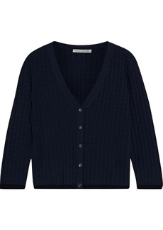 Autumn Cashmere Woman Jacquard-knit Cardigan Navy