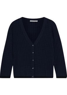 Autumn Cashmere Woman Jacquard-knit Cardigan Navy