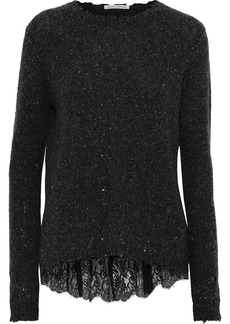 Autumn Cashmere Woman Lace-trimmed Distressed Marled Cashmere Sweater Dark Gray