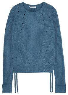 Autumn Cashmere Woman Lace-up Cashmere Sweater Blue