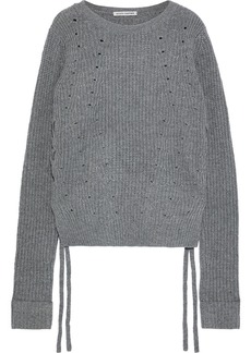 Autumn Cashmere Woman Lace-up Cashmere Sweater Gray
