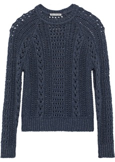 Autumn Cashmere Woman Marled Open-knit Cotton Sweater Storm Blue