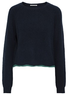 Autumn Cashmere Woman Metallic-trimmed Ribbed Cashmere Sweater Navy